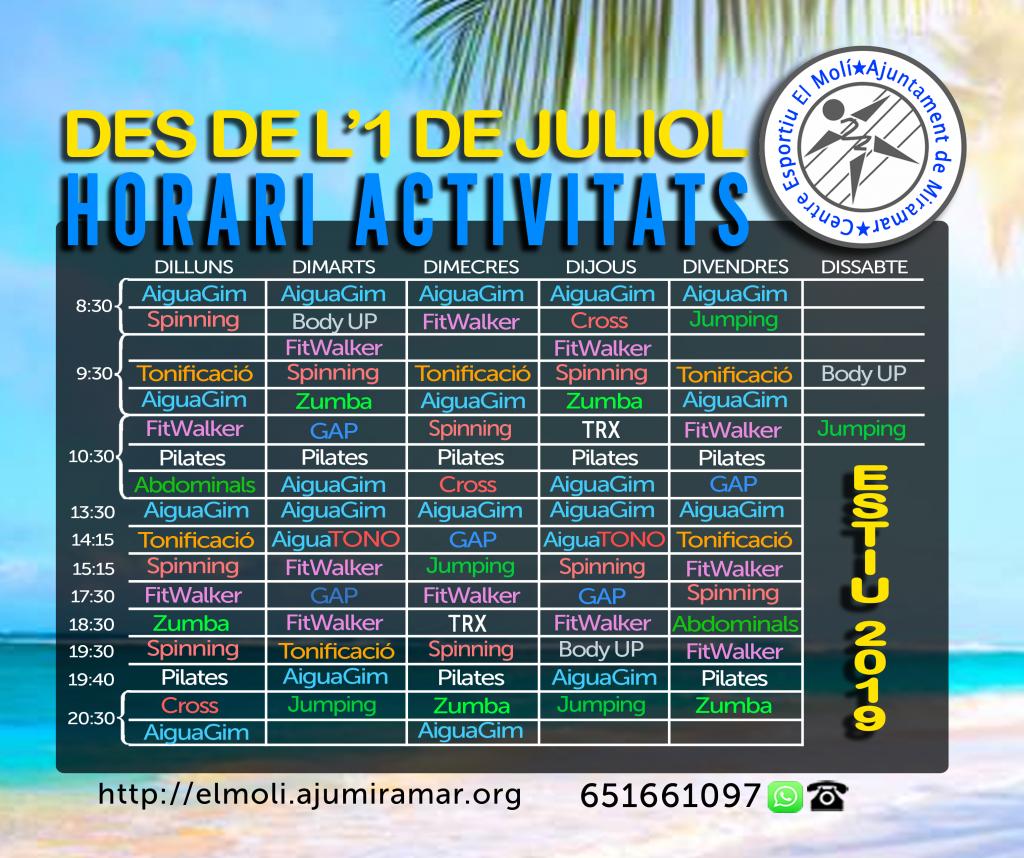 Horari activitats 2019 estiu