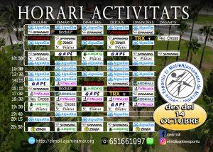 Horari activitats dirigides centre esportiu el molí
